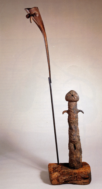 Man and Woman (Homme et femme), 1962 Earthenware, iron, and wood 98 3/8 x 23 1/4 x 13 3/4 in. (250 x 59 x 35 cm) Nahmad Collection, Switzerland