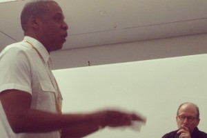 """Jay-Z and art critic Jerry Saltz at the filming of """"Picasso Baby"""" at the Chelsea's Pace Gallery. Photo: Culture.com"""