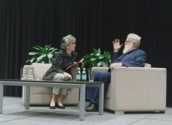 James Turrell and Lynn Herbert discuss Turrell's newest work on Friday at the University of Texas.