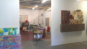 Matt Clark's studio inside Deadbolt Studios (Nathan Green's paintng hangs to the right).