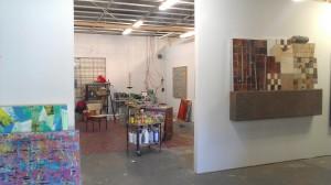 Matt Clark's studio inside Deadbolt Studios (Nathan Green's paintng hangs to the right).