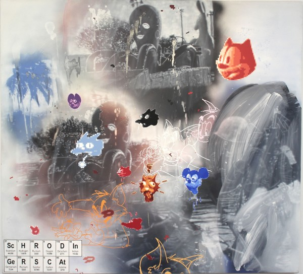 Vernon Fisher, Schrodinger's Cat, 2013. Acrylic on canvas, 66 x 72 inches
