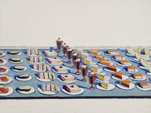 Wayne Thiebaud. Salad, Sandwiches and Dessert, 1960. Lent by the Sheldon Museum of Art, University of Nebraska-Lincoln. NAA–Thomas C. Woods Memorial. Art © Wayne Thiebaud / Licensed by VAGA, New York, NY.