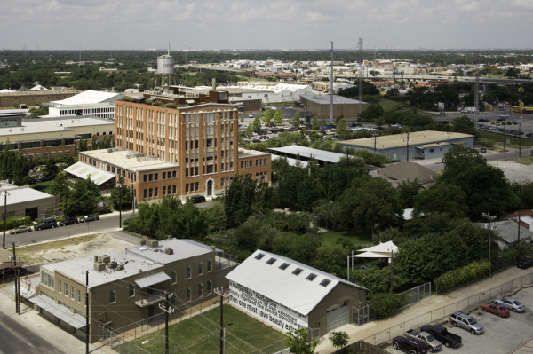 Aerial view of Linda Pace Foundation future campus.