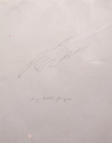 William Wegman, Big Little Finger, 1974, pencil on paper, courtesy Texas Gallery