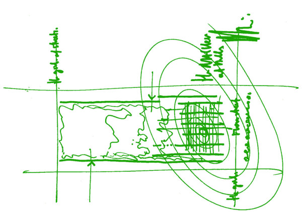 Piano's concept sketch for the Nasher Sculpture Center. Courtesy of the Nasher.