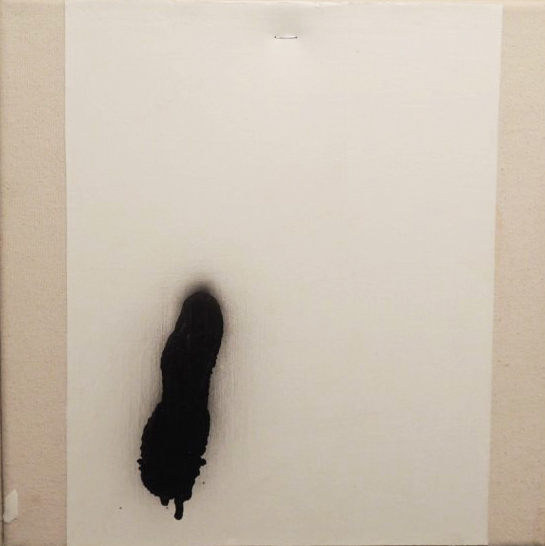 "LOST KITN, 2013 Acrylic, spaypaint, staple on canvas, 11""x11"""