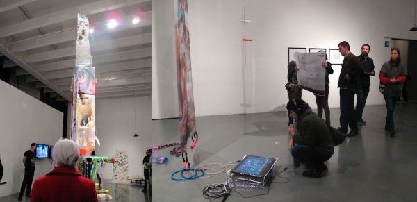 Works by Cristóbal Gracia (Left) and Natalia Ibáñez Lario (right) at the Demasiado Futuro show at the Sala Donceles, Centro Cultural de España. Open thru January 12, 2014.