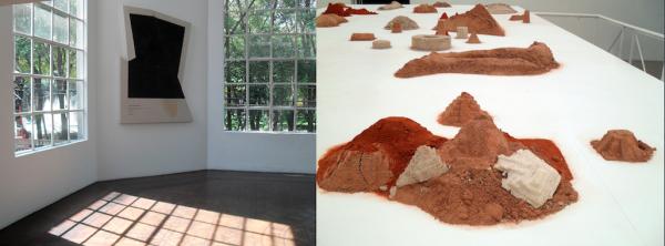 Galería OMR Exhibitions: Ryan Brown The Sun is a Hole (left) and Pablo Rasgado Ojo por diente (right)