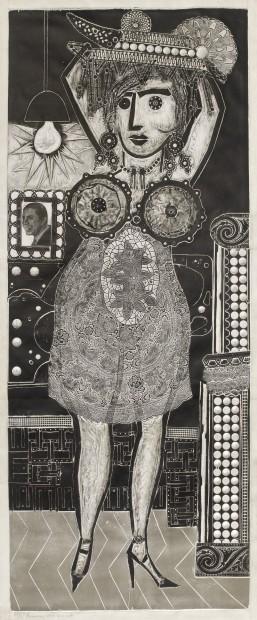 Ramona vive su vida, de la serie Ramona Montiel y sus amigos (Ramona Living Her Life, from the series Ramona Montiel and Her Friends), 1963, xylo-collage-relief