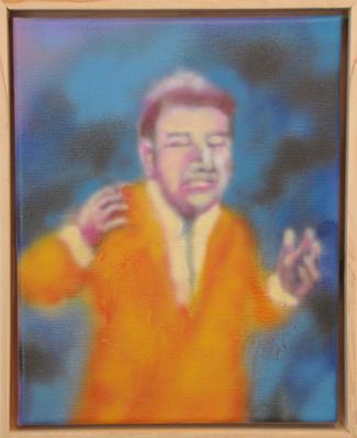 "Saving, 8""x10"" airbrush on canvas, 2013"