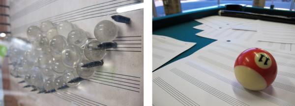 """The more playful pieces in the show are vintage Art Guys interactive works. Left, a detail of Jack Massing's """"Marble Music for Four Story Rain Stick"""" (1987). Right, The Art Guys' """"Pool Music"""" (1992)"""