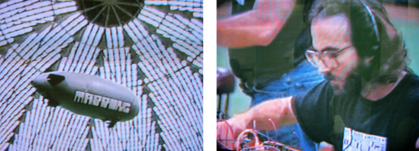 Images from Laurie McDonald's video documenting Russell Frehling's Mapping – part of Astrosounds series of sonic experiments held in the Houston's Astrodome during New Music America 1986.