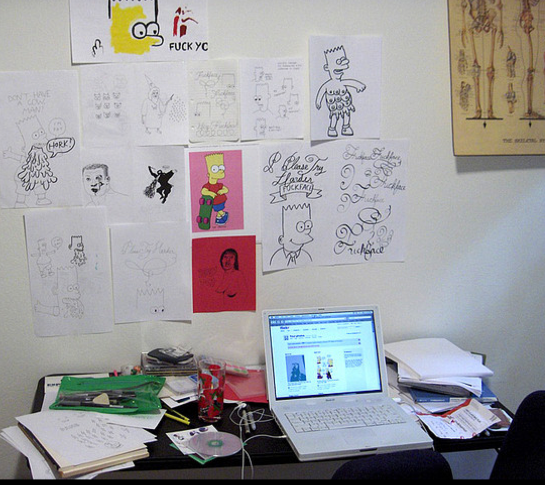 Michael Harwell's Bart-filled workspace