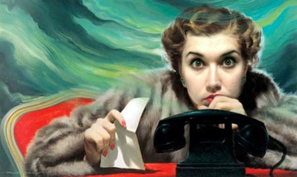 Gabriela Ochoa, Me in the Telephone Call by Robert Harris, 2013, Digital Photo Collage. courtesy of The Reading Room