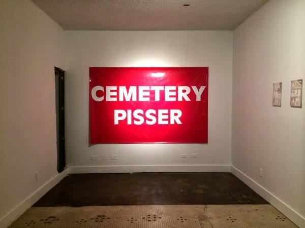 Michael Wynne, Cemetery Pisser, 2014, Vinyl Banner. courtesy of Beefhaus