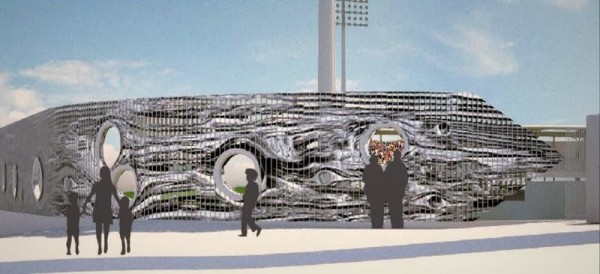 Two of the public art installations planned for the Triple-A stadium include a piece on the clock tower (first image) and another along a fence. (City of El Paso)