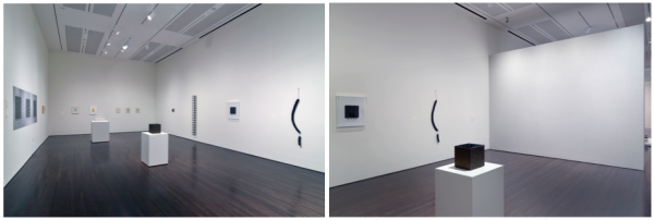 Room 2. The wall that appears grey in the photograph on the right is LeWitt's Wall Drawing #46 (1970). The reproduction of Hesse's Metronomic Irregularity II (1966) hangs on the left-most wall in the photograph on the left.