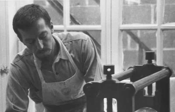 Theo Wujcik working at the Center for Creative Studies in 1968