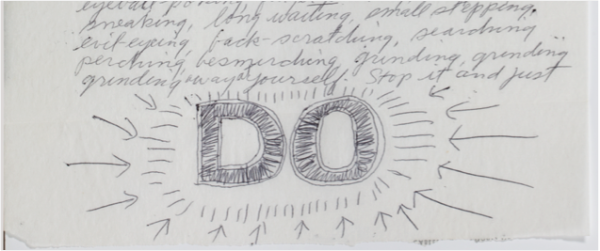 Sol LeWitt, letter to Eva Hesse, 1965, detail of page 1.
