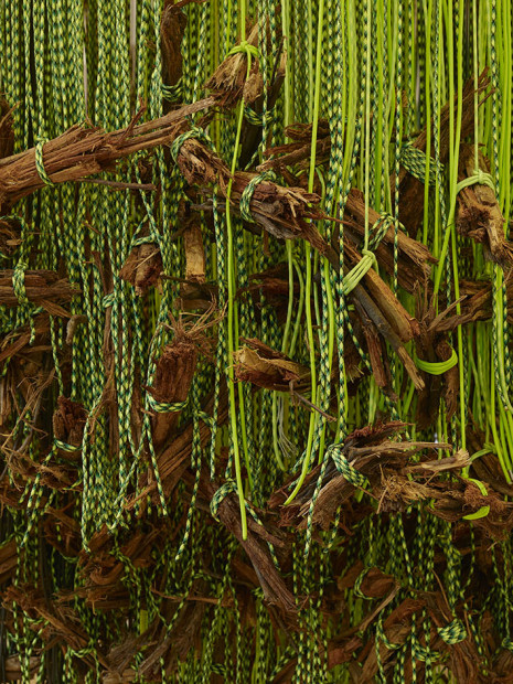 Andrea Bowers, Detail of Memorial to Arcadia Woodlands Clear-Cut, 2013, Metal, paracord, rope wood, 118 X 67 inches. Copyright the artist.