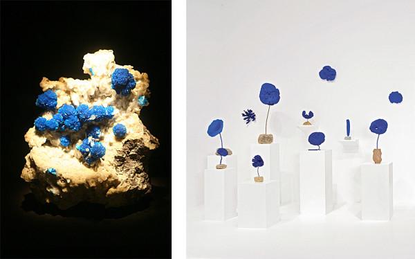 (l) Cavansite, Wagholi Quarry, Maharashtra, India (r) installation view of Yves Klein sponge sculptures