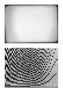 The Flicker by Tony Conrad, 16mm, 1965. Above: A clear (white) frame. Below: Exposure timing sheet used in making the film.
