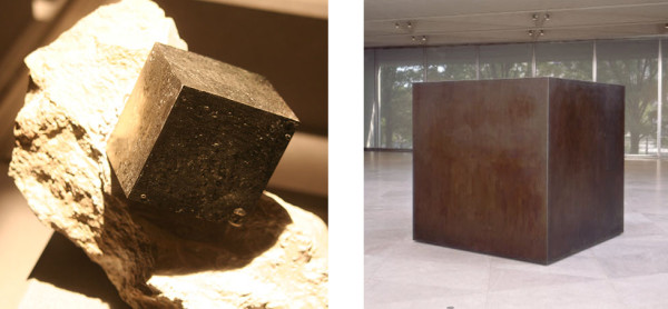 (l) Pyrite, La Rioja region, Spain (r) Tony Smith, Die, 1958