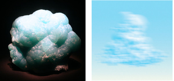 (l) Smithsonite, Kelly Mine, New Mexico (r) Ted Kincaid, LA Sky 803, 2009, Digitally-Constructed Photograph on Canvas