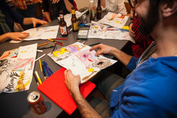 Artists Anonymous drawing night with Russell Etchen, 2014. The Contemporary Austin- Jones Center, Austin. Photographs by Brian Fitzsimmons.
