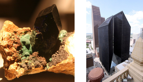 (l) Cerussite, from the Otjikoto Region of Namibia (r) Pennzoil Place