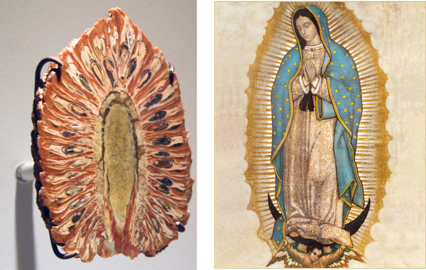 (l) Jurassic period petrified pine cone from La Matilde Formation, Argentina (r) Our Lady of Guadalupe, c. 1900
