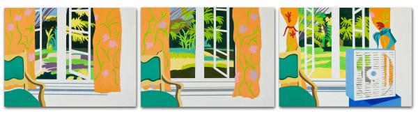 Martha Hughes Timelapse Marfa Series (0582 - Austin Window, 1980) 2006, Acrylic on panel 3 panels: 9 x 12 inches, each