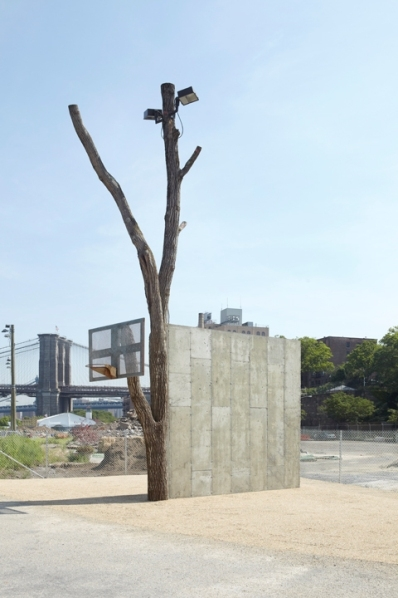 Public Art Fund Talks at The New School. Between Art and Architecture: Oscar Tuazon Oscar Tuason, People, 2012. Sugar maple tree, concrete, metal basketball, backboard and hoop. Photographed by Jason Wyche