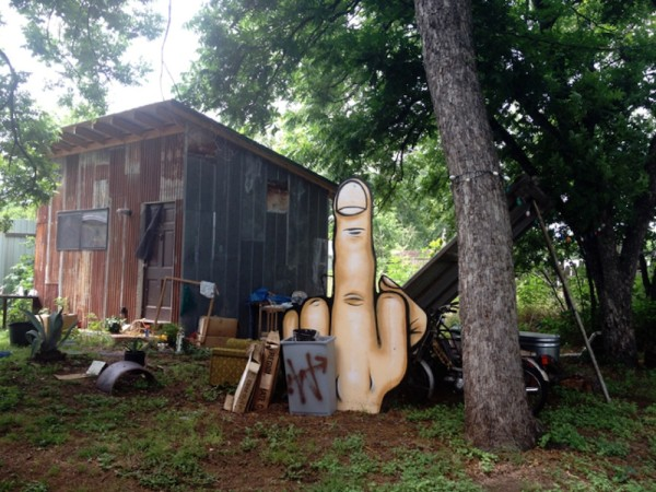 Finger greeting at the compound