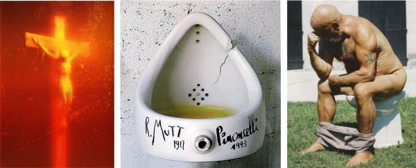 serrano-piss-christ-pinocelli-duchamp-rodin-fountain-thinker