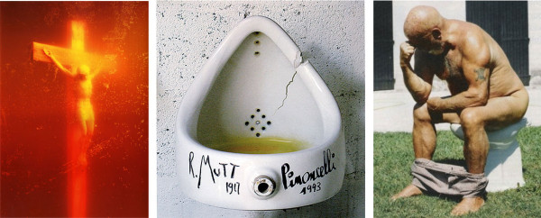serrano-piss-christ-pinocelli-duchamp-rodin-fountain-thinker