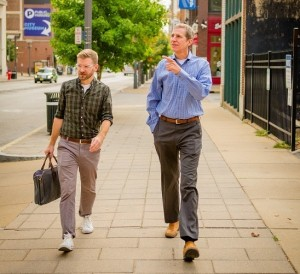 Alligood and Bacigalupi hitting the streets. (Photo via Huffington Post)
