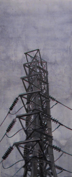 "Peter Broz, <em>Tower</em>, 2014. Acrylic on panel, 48"" x 20"""