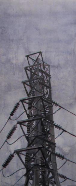 "Peter Broz, <em>Tower</em>, 2014. Acrylic on panel, 48"" x 20"""