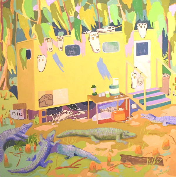 "Lindy Chambers, <em>Gator Man</em>, 2014 Oil on gesso board 26"" x 26"""