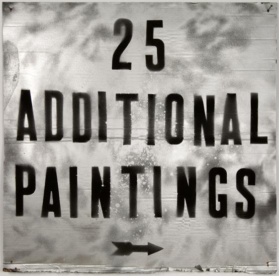 """Mark Flood,<em>25 ADDITIONAL PAINTINGS</em>, 2009. Spray paint and acrylic on cardboard, 48 x 48"""""""