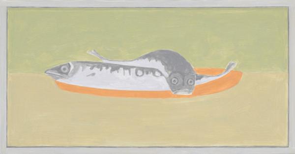 """Francesca Fuchs, <em>Framed Painting: Chackas Fish</em>, 2012, Acrylic on canvas, 17 x 32.5"""""""