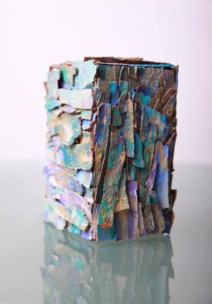 "Eva Graf, <em>The Cube</em>, 2013 Mixed media, 15"" x 18"" x 18"""