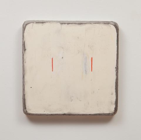 Otis Jones, <em>  Two Lines One Moved</em>, 2014. Acrylic on canvas 24 x 24 x 3½