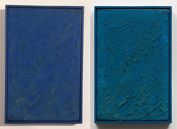 Michelle Rawlings, Ocean Blue(left) and Sea Blue(right), 2014. oil on linen and plexi frame, each 7 x 10.5""