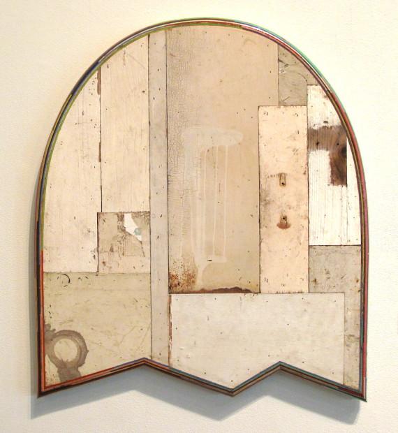 "Patrick Renner, <em>Specter</em>, 2014. Found painted wood, 29"" x 33"" x 1.5"""