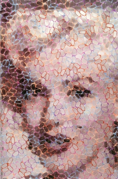 Marilyn Monroe by David Datuna. 2014, Mixed Media construction with collage 61 x 41 inches