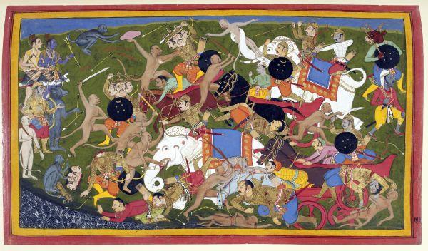 Battle at Lanka, Ramayana, Udaipur, 1649-53, courtesy The British Library