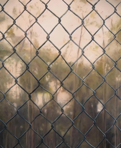 """<em>Landscape with Fence</em>, 2013. Oil on canvas, 32 x 26"""""""